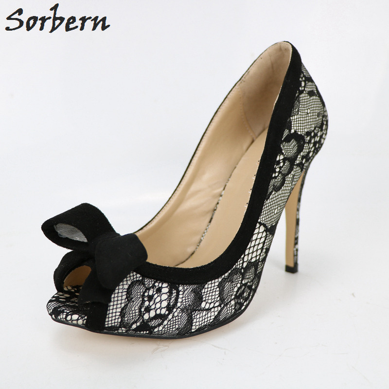 Sorbern Black Lace Women Pumps Slip On Shoes Peep Toe Bow Womens Heels Latest Shoe Women Made-To-Order Sexy Party Heels mature sexy brown and black two piece women pumps pointed toe ladies ol shoes made to order handmade donne scarpe tacco alto