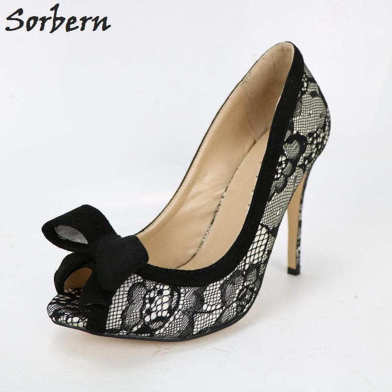 Sorbern Black Lace Women Pumps Slip On Shoes Peep Toe Bow Womens Heels Latest Shoe Women Made-To-Order Sexy Party Heels недорго, оригинальная цена