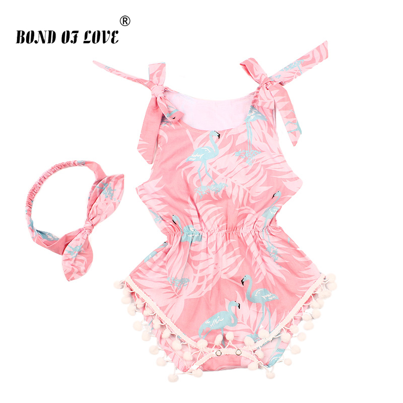 Baby Girl Clothes 2019 Cotton Sleeveless Baby   Romper   Headband Set Pink Cartoon Pattern Infant Jumpsuit New Born Baby Clothes