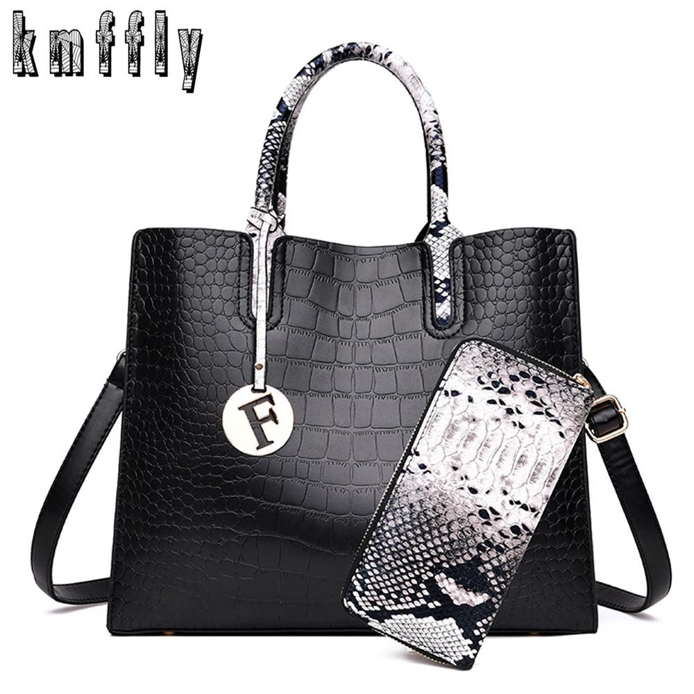 2019 New Crocodile Pattern Women Handbag Designer Leather Ladies Shoulder Bag Large Capacity Crossbody Bag For Women Tote+Wallet