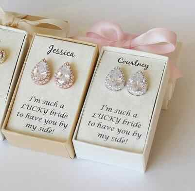 personalize name quote Bridesmaid proposal gifts Rose gold tear drop  earrrings, Bridal Party WeddingCubic Zirconia Earrings