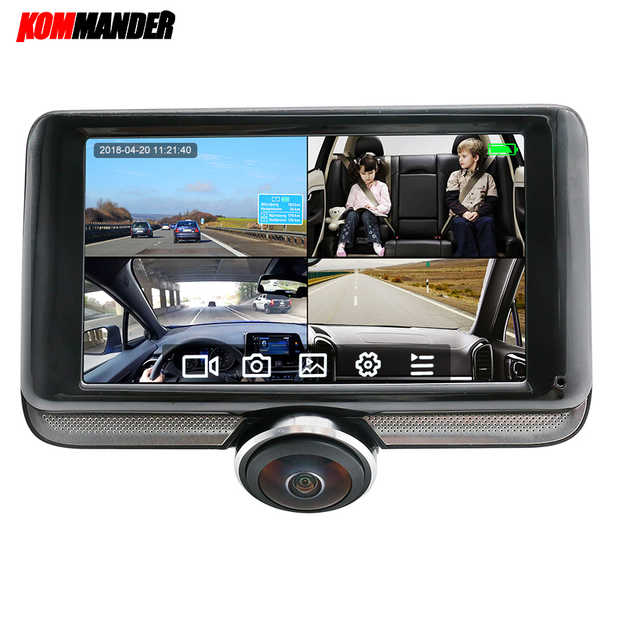 Kommander Car-Dvr 4-Cameras 360-Angle Touch-Screen Night-Vision With 360-angle/Fhd/1920--1080p/..