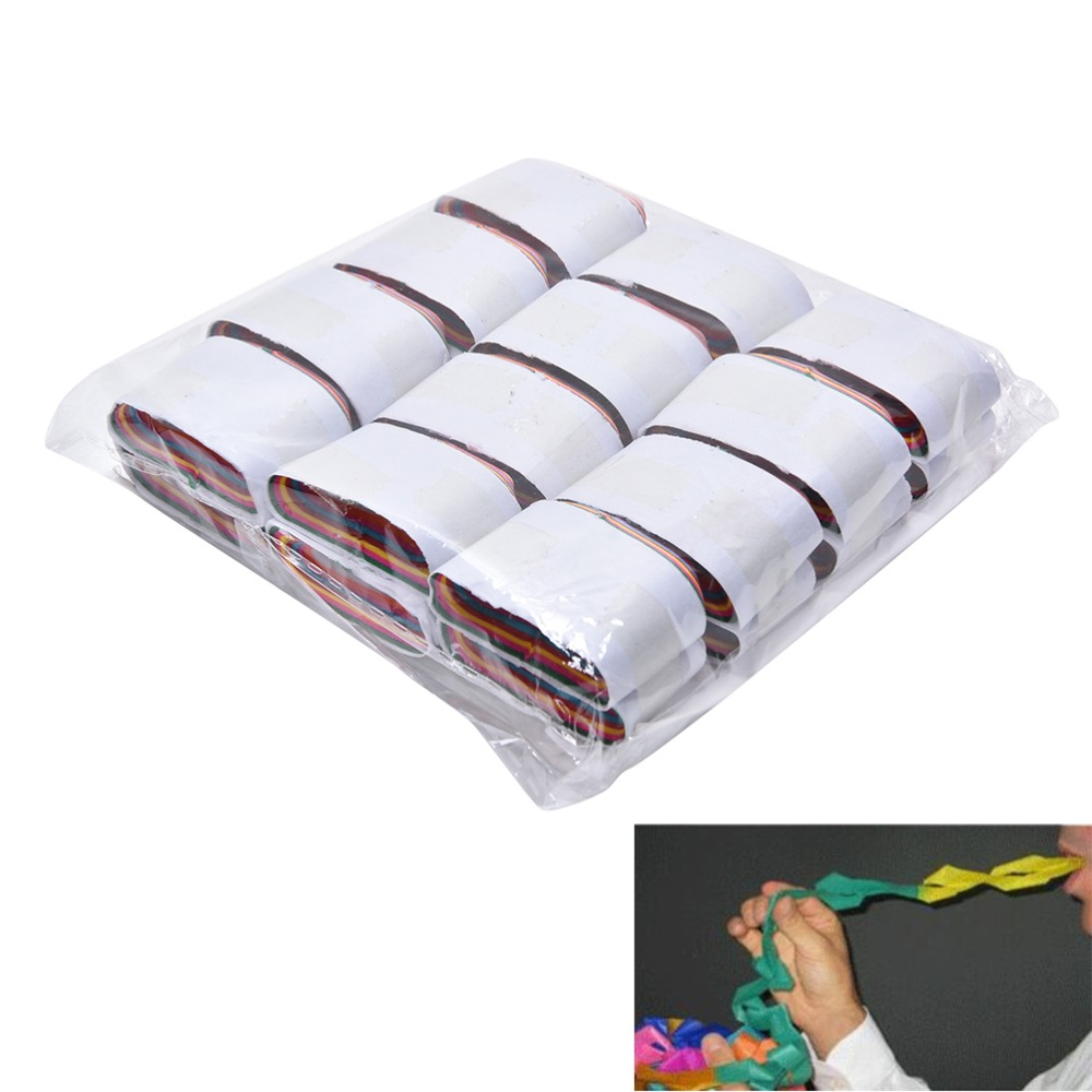 12 Coils/lot Multicolored Mouth Paper Magic Tricks Mouth Coils - Color - Paper magic prop magic toys 3.5cm * 2.2cm nick lewin s ultimate electric chair and paper balls over head magic tricks