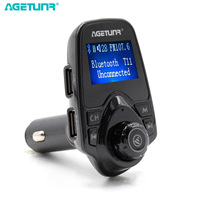 AGETUNR Bluetooth Car Kit Handsfree Set MP3 Player FM Transmitter 2 USB Car Charger 5V 2.1A Support TF Card & USB Music