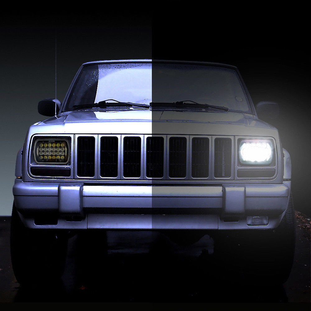 2 pcs 5x7 led square headlights with daytime running light for jeep xj cherokee mj comanche truck 7 6 inch rectangular headlamp in car light assembly from  [ 1000 x 1000 Pixel ]