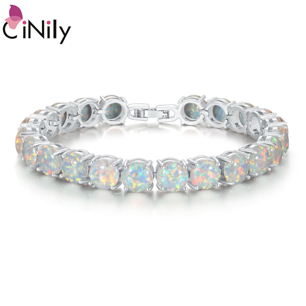 CiNily White Fire Opal Stone Chain Link Bracelets & Bangles Silver Plated Luxury Larger Boho Bohemia Summer Jewelry Gifts Woman