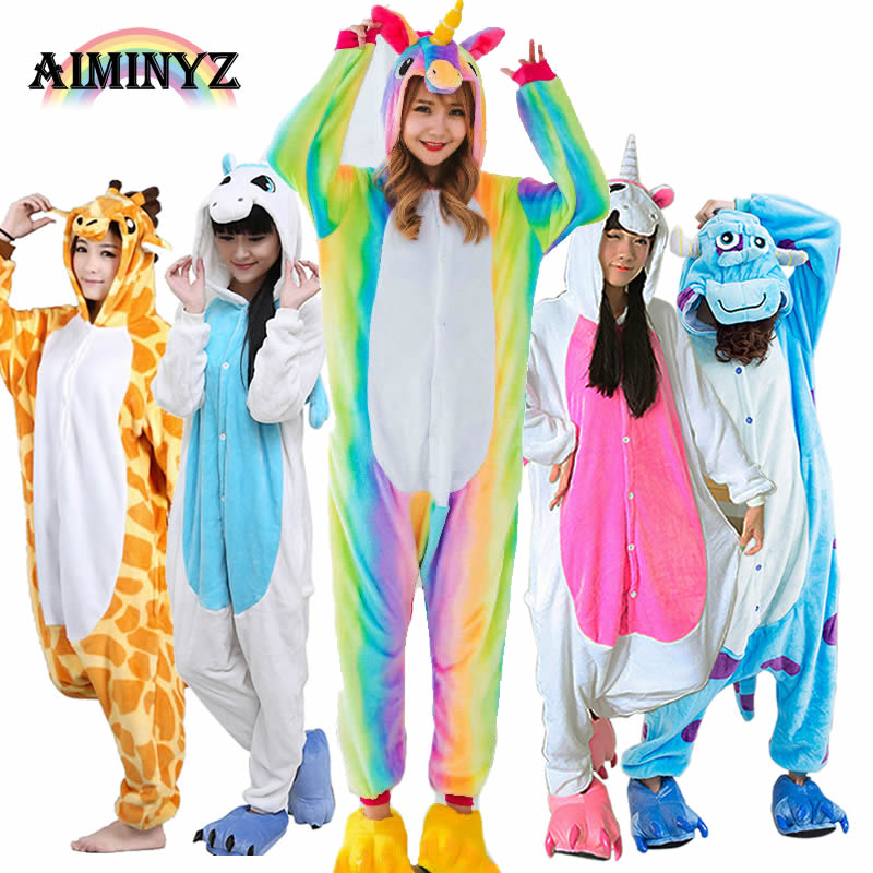 2018 Hot Unicorn Dinosaur Pegasus Animal Kigurumi Flannel   Pajamas     Sets  /Hoodies Jacket Cosplay For Adult Women/Men Wholesale