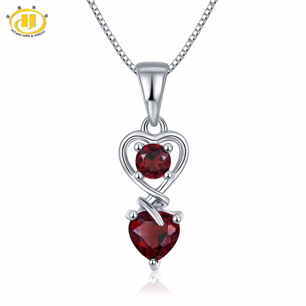 Hutang Fashion 1.27ct Natural Gemstone Garnet Pendants Solid 925 Sterling Silver Heart Pendant Necklace Fine Jewelry For Women bbb