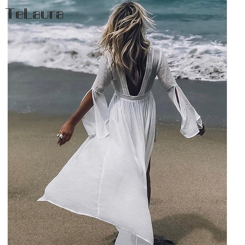 Swimsuit Beach-Dress Bikini Cover-Up Long Women Summer Female