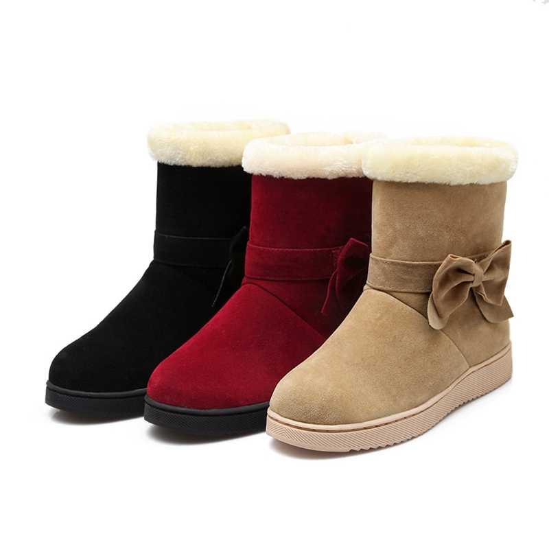 REAVE KEDI Yeni 2018 Kadın botları Kürk Peluş Içeride Sıcak Kelebek düğüm Kar çizmeler Düz Platformu Kadın orta buzağı çizmeler Sevimli Sıcak A827