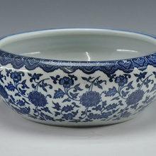Китайский антикварный qing qianlong mark синий и белый фарфор керамическая рыбка чаша цветочный горшок
