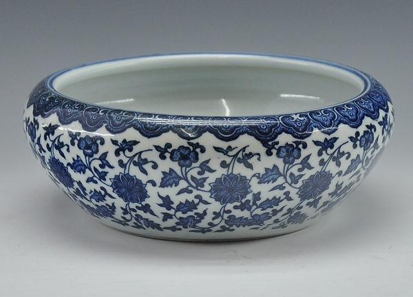 Китайский антикварный qing qianlong mark синий и белый фарфор керамическая миска для рыбы цветочный горшок