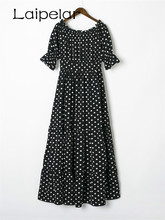 2018 Women Summer Beach Long Dresses Ladies Black and White Polka Dot Off Shoulder Half Sleeve Tie Waist A Line Maxi Dress plus tie waist dot print off shoulder dress