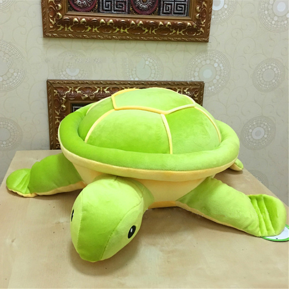Fancytrader Cute Big Giant Turtle Plush Toys Soft Stuffed Animals Green Tortoise Pillow Doll 80cm/60cm Kids Gifts fancytrader giant blue shark plush toys big stuffed sea animal shark doll pillow 115cm 45inch best gifts for children