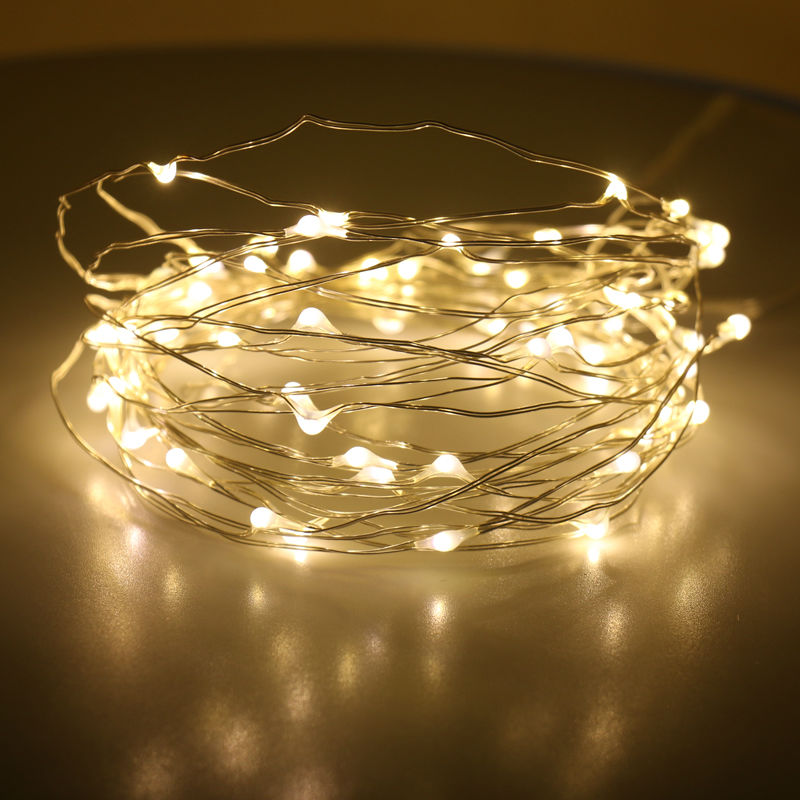 10M 100LEDs Battery powered LED string lights without remote control flexible silver wir ...