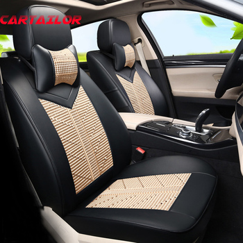 CARTAILOR Car Seat Covers PU leather & Ice Silk Custom fit for Hyundai Veloster Seat Cover Protector Set Auto Seats Cushion Pad