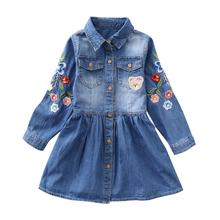 IYEAL New Girl Dress 2018 Spring Long-sleeved Flower Embroidery Children Denim Dresses Autumn Kids Girls Clothes for 3-8 Years