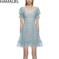 HAMALIEL New Vintage Self Portrait Style Dress 2018 Runway Summer Women Puff Sleeve Blue Big O