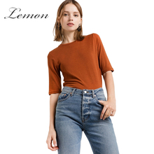 Lemon Casual Slim Women Top Tees Summer Chic Female T-shirt Brief Preppy Basic Shirt Top