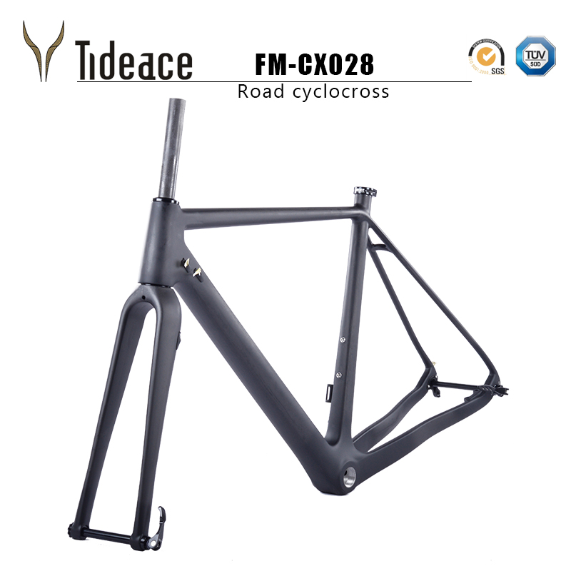2018 Tideace Tapered disc brake Di2 Chinese CX Carbon Cyclocross Frame with fork thru axle bike frame for max 40C tire track frame fixed gear frame bsa carbon 1 1 2to 1 1 8 bike frameset with fork seatpost road carbon frames fixed gear frameset