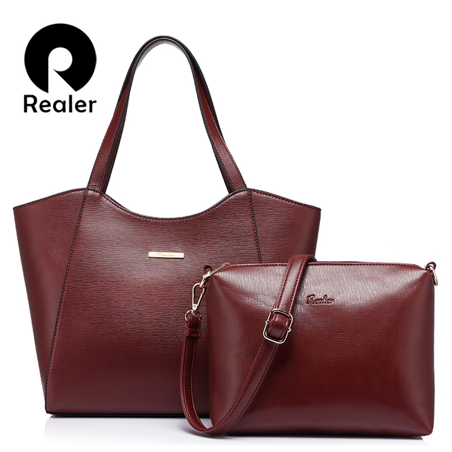 REALER brand 2 pcs/set women handbag  high quality  female solid tote bag with casual messenger bag