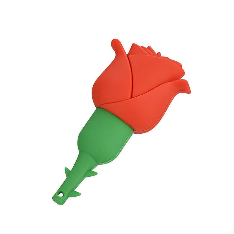 Kartun USB Flash Drive 4G 8G 16G 32G 64G Rose Flashdisk Gadis Hadiah Pria Pen flash Drive Kartu Flash Gratis Pengiriman