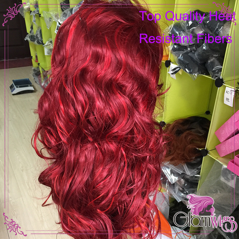 Wine Red With Bright Red Highlights Synthetic Lace Front Wig Body Wave Glueless 99J Heat Resistant Fiber Glueless Lace Wig 4