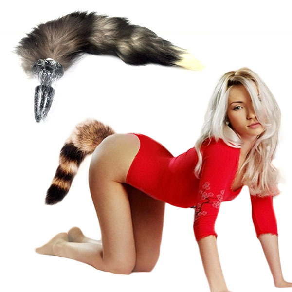 Thought girl with furry tail butt plug pussy
