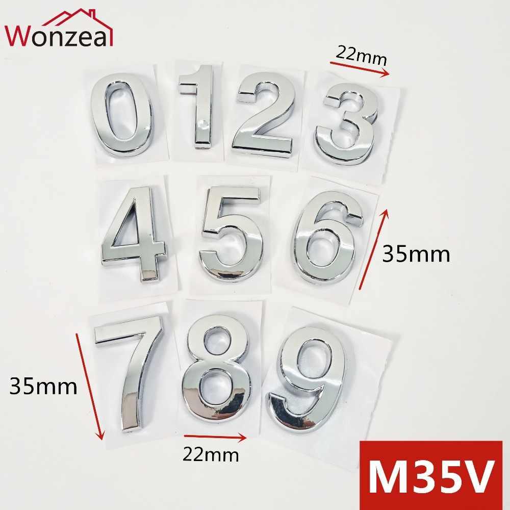 35 мм x 22 мм ABS пластиковая дверная пластина цифра серебряный цвет самоклеющиеся 0-9 номера двери индивидуальные дом Адрес знак # M35V