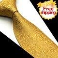 Floral Solid Gold Amarelo Laço Dos Homens Gravatas 100% Seda Tecido Jacquard Terno Presente Para Homens Casamento Formal do Negócio Ocasional