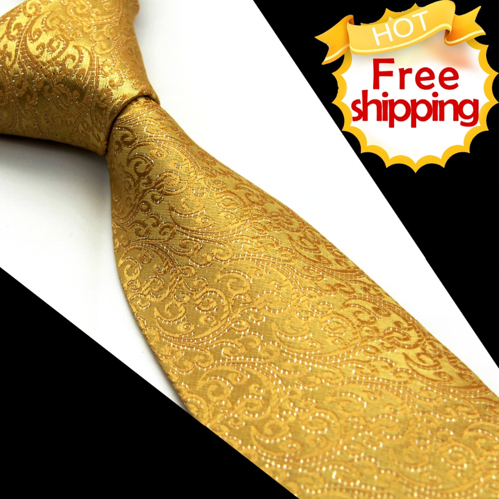 Floral Solid Gold Yellow Mens Tie Neckties 100% Silk Jacquard Woven Suit Gift For Men Casual Formal Business Wedding