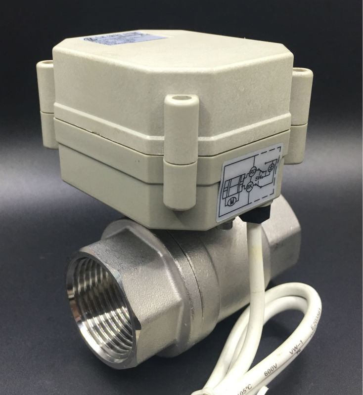 Fast Electric On/off Valve TF25-S2-A 2-Way BSP/NPT 1'' Stainless Steel DN25 Full Port AC/DC 9V-24V 3 Wires For Water Automatic bsp npt 1 pvc dn25 electric shut off valve tf25 p2 c dc12v cr303 wiring 10nm on off 15 sec metal gear for water control