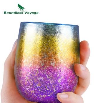 Титановая двухслойная чашка Boundless Voyage 220 мл, цветная чашка с защитой от ожогов, Ультралегкая чашка с ледяными цветами для воды, чая, вина