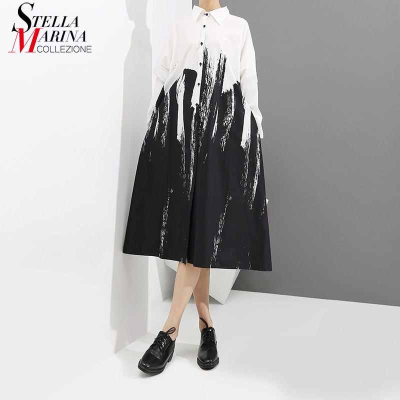 2020 Women Summer Black And White Print Shirt Dress Long Sleeve Tie-Dyed Lady Plus Size Midi Casual Loose Dress Robe Style 3400