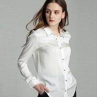 100% шелковая блузка Для женщин Рубашки Simple Дизайн отложным воротником декоративные пуговицы одежда с длинным рукавом 2 цвета офисные Топ Нов