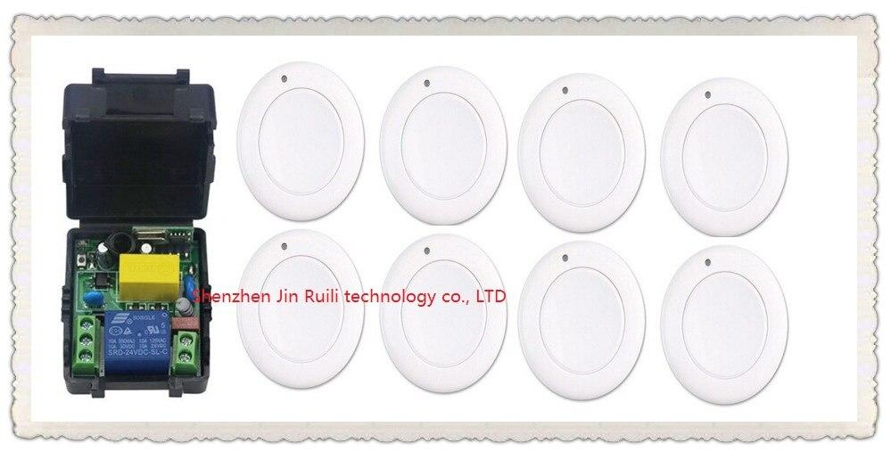 Nouveau multi-fonction mode de sortie AC 220 V 1CH Télécommande Sans Fil Commutateur Système Récepteur et 8 * Blanc Panneau mural Collant À Distance