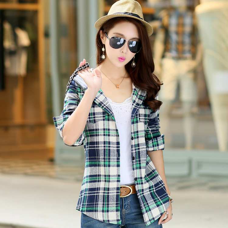 0e0a0ea41c2545 New Arrival 2017 Autumn Cotton Long Sleeve Red Checked Plaid Shirt Women  Hoodie Casual Fit Blouse Sweatshirt-in Blouses & Shirts from Women's  Clothing on ...