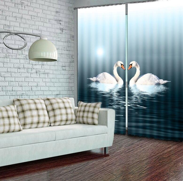 Modern Elegent Beautiful Swan Animals Print 3D Blackout Window Curtains For Living room Bedding room Tapestry Wall CarpetModern Elegent Beautiful Swan Animals Print 3D Blackout Window Curtains For Living room Bedding room Tapestry Wall Carpet