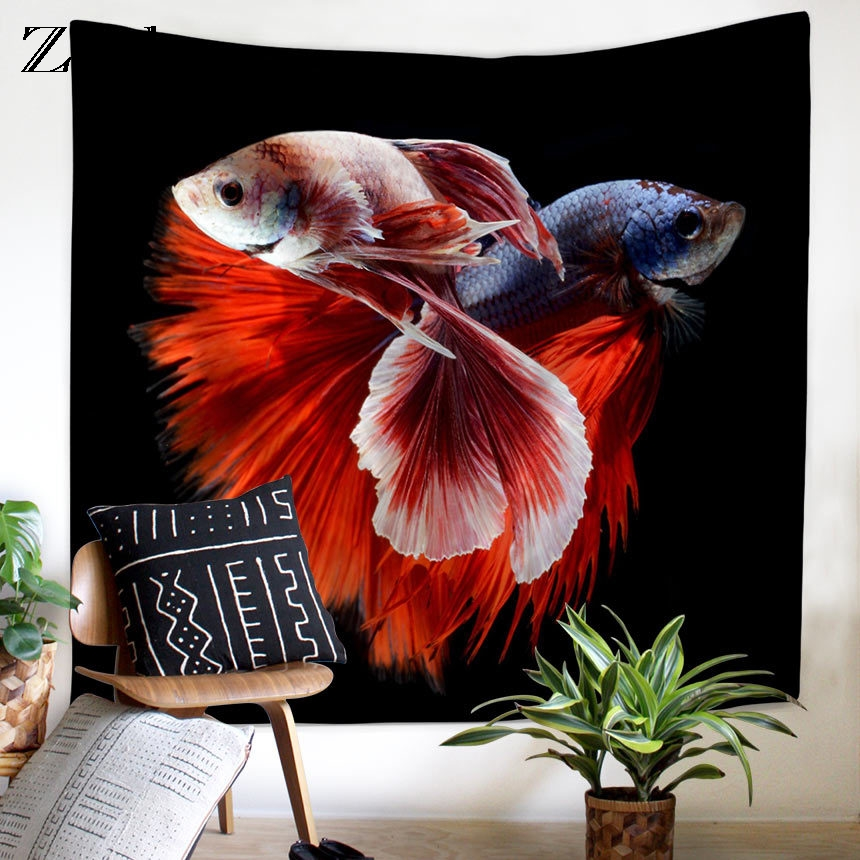 Home Textile Imported From Abroad Zeegle Wall Tapestry Goldfish Printed Tapestry Bedspread Curtains Decorative Wall Carpet Chair Cover Beach Towel Wall Carpet Quality And Quantity Assured