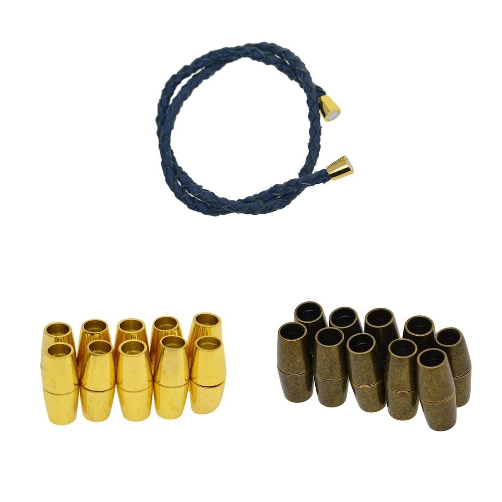 10 Sets Fashion Barrel Magnetic Clasps fit 4mm Round Leather Cord Kumihimo Necklace Bracelet Connectors For DIY Jewelry Making(China)