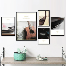 Piano Guitar Vinyl Records Wall Art Canvas Painting Vintage Nordic Posters And Decoration Pictures For Living Room