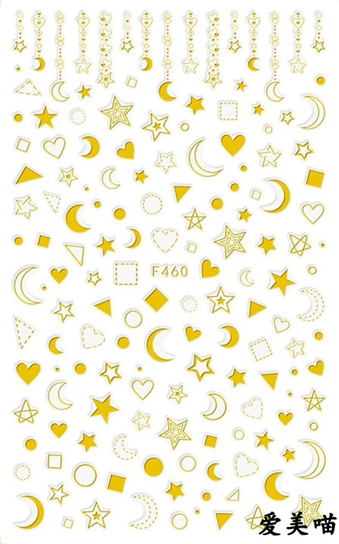 1 Packs Nail Wraps Full Cover Adhesive Art Stickers Beauty Moon&Star Decals DIY Manicure Decoration C4643