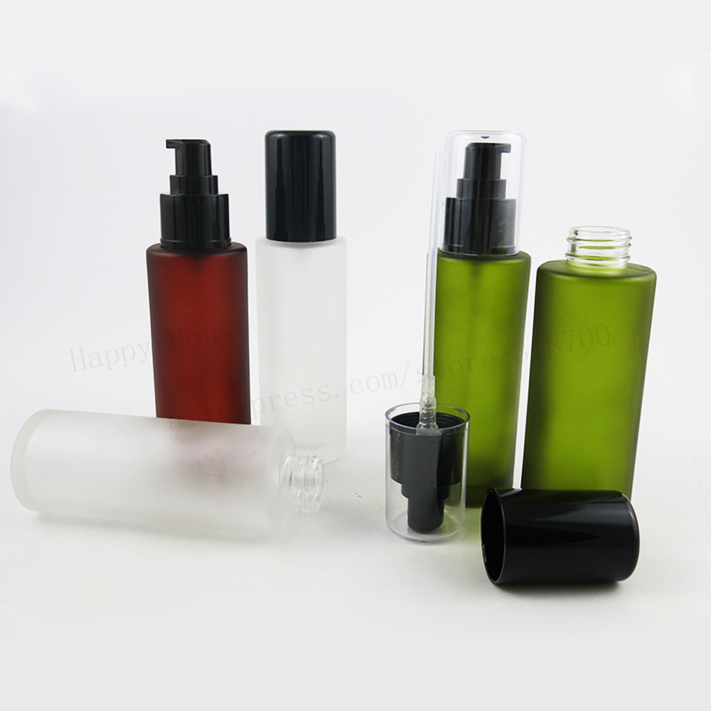 12/lot 100ml Olive Frosted Green Brown Round Glass Lotion Bottle with Black Plastic Pump 100cc cosmetic container for liquid alcohol and liquid container bottle white 180ml