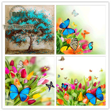 FineTime 5D DIY Diamond Painting Cross Embroidery Butterfly Crystal Sewing Circle Diamond Embroidery Painting Mosaic Decoration finetime 5d diy diamond cartoon cross embroidery diamond embroidery butterfly elf pattern diamond mosaic needlework