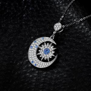 Image 2 - JPalace Moon Star Created Spinel Pendant Necklace 925 Sterling Silver Gemstones Choker Statement Necklace Women Without Chain