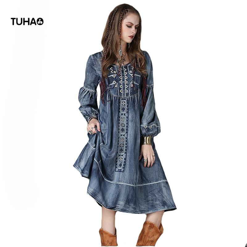TUHAO 2019 automne Indie Folk géométrique broderie Vintage Denim robe à manches longues lanterne manches robes décontractées pour les femmes T6553