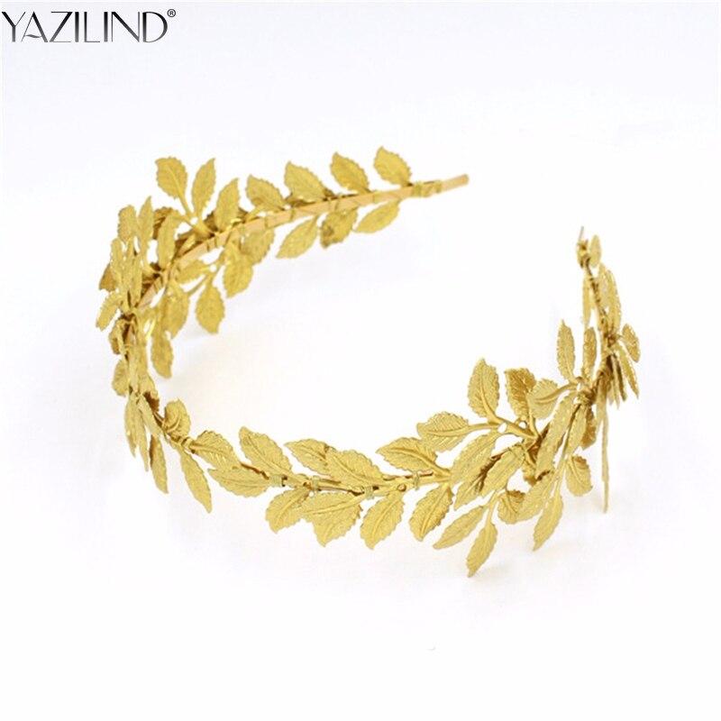 Retro Baroque Wedding Crown Bride Headdress Headband Hair Accessories Golden Leaf Tiara Gold Jewelry Vintage Crowns Tiaras