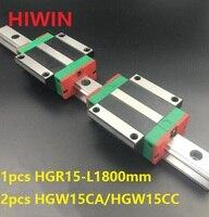1 шт. 100% Оригинал Hiwin Линейные направляющей HGR15 L 1800 мм + 2 шт. HGW15CA HGW15CC Линейный Фланец каретка для ЧПУ