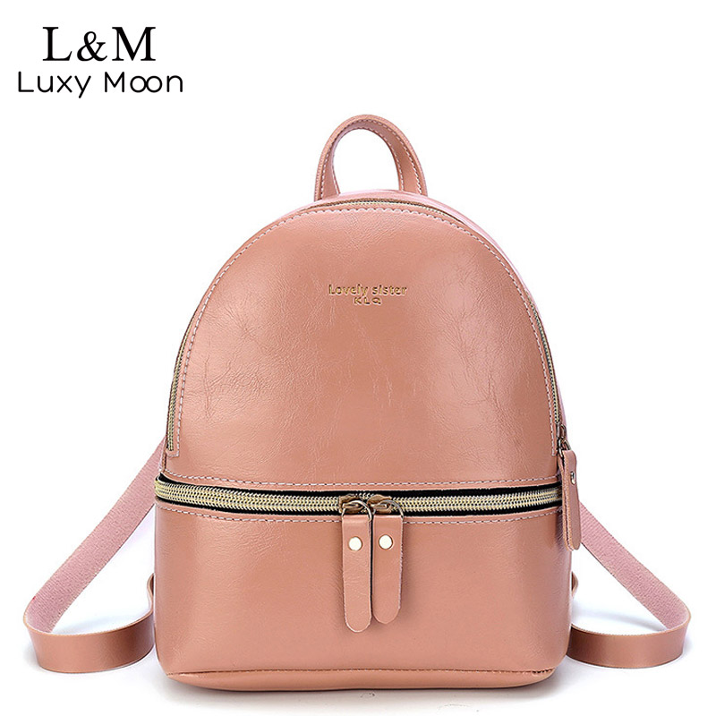 Korean Style Women's Backpack 2020 Casual Student Mini Leather Bag Solid Backpacks Schoolbag For Girls Gift Shoulder Bags XA280H