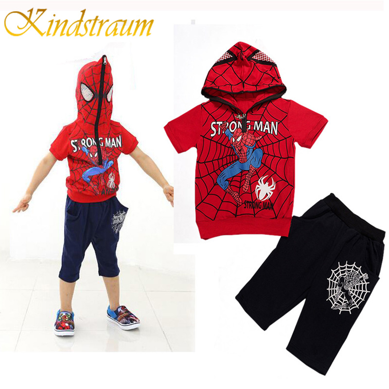 Kindstraum Boys Clothing Sets Spiderman Kids Summer Sets Cotton Spiderman Short Sleeve Hoodies Shorts Chidren Casual Suits,MC549 2016 spiderman children clothing kids summer little baby cotton clothing sets t shirts and shorts casual fashional dress 0440